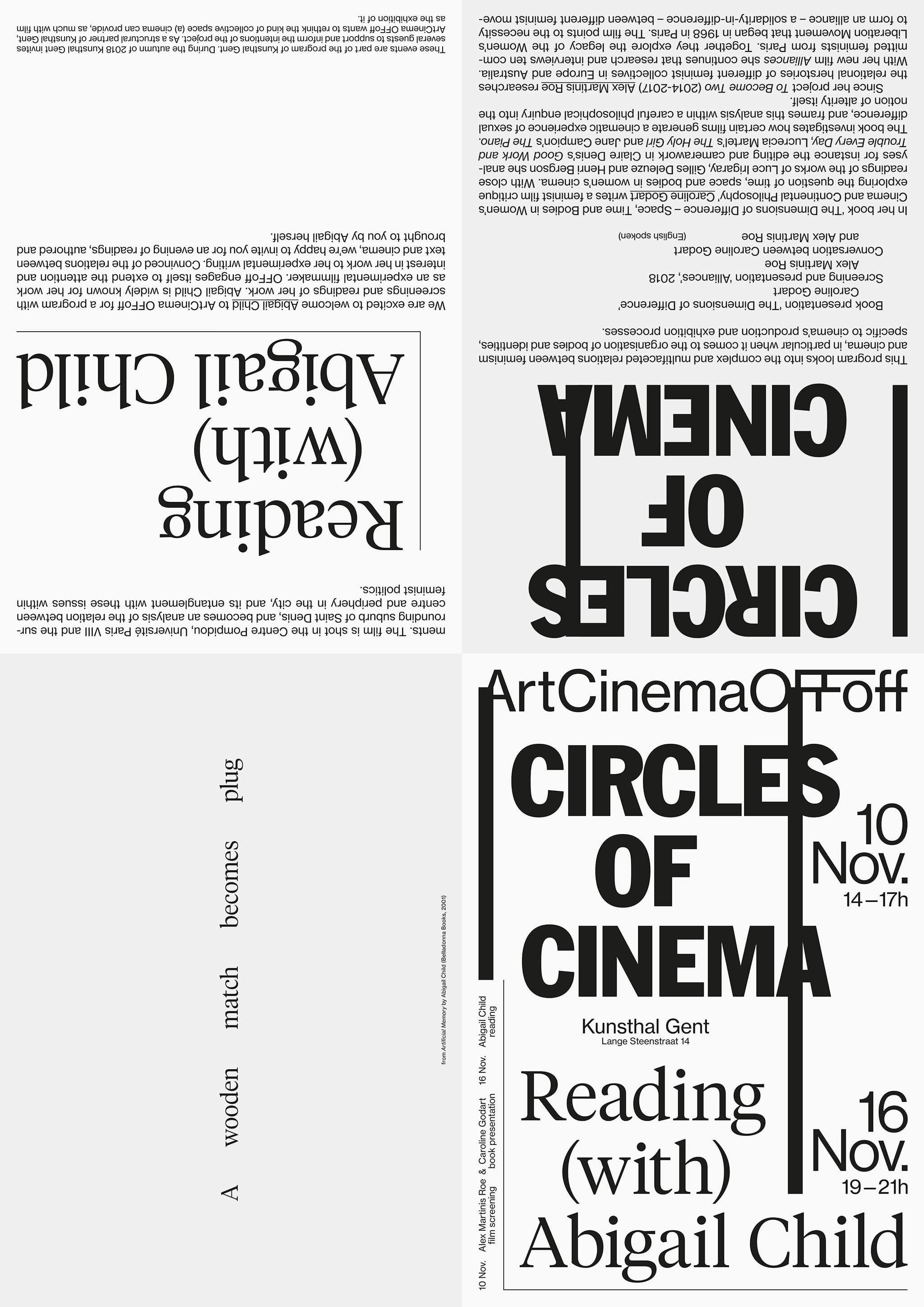 Circles of Cinema / Abigail Child, Art Cinema OFFoff, A2 folding poster